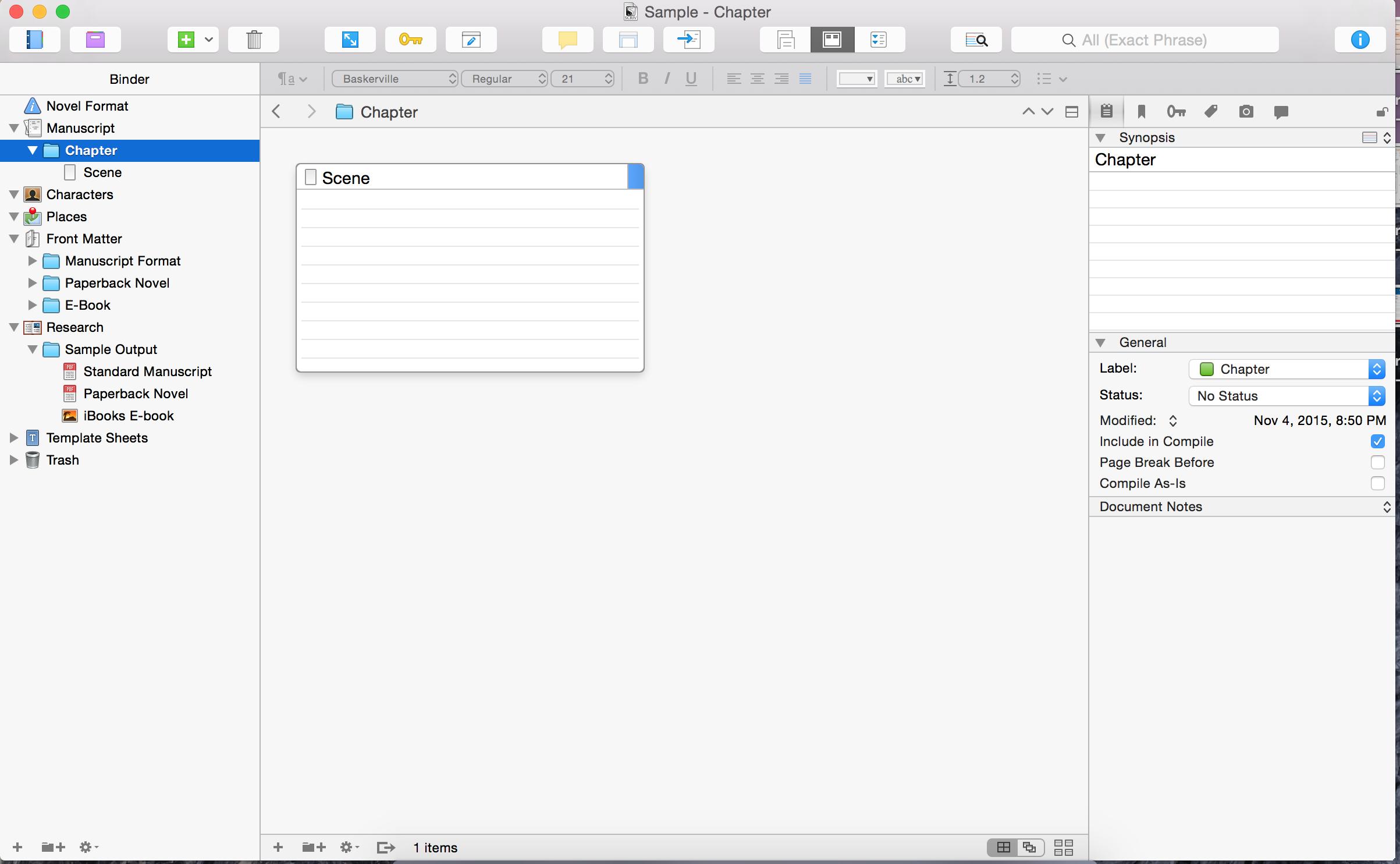 Scrivener empty document