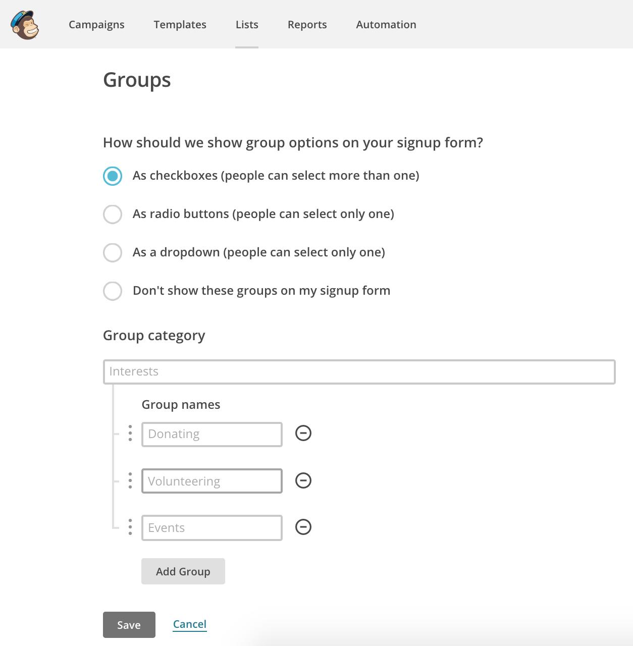 A screenshot of MailChimp